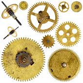 stock photo of gear wheels  - Set of various old cogwheels  - JPG