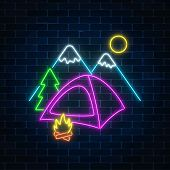 Neon Camping Sign With Tent, Bonfire, Mountains And Spruce. Glowing Web Banner For Summer Camp, Camp poster