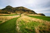 Holyrood Park, Green And Yellow Grass With Arthurs Seat In The Background On Overcast Autumn Day. E poster