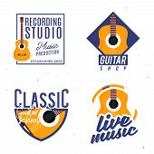 Guitar Themed Logotypes, Badges, Logos, Signs, Design Elements. Logotypes Concept With Guitar As A M poster