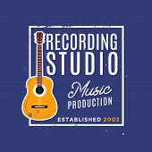 Recording Studio Logotype With Guitar. Vintage Style Of Badge, Perfect For Logotype Of Recording Stu poster