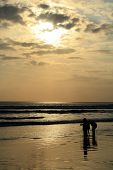 picture of beach sunset  - A family having fun as the sun sets over Kuta Beach in Bali - JPG