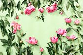 Spring And Romance Concept, Flat Lay Of Peonies In A Heart Shape Space, Overhead View, Space For A T poster