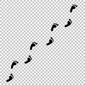 Black Silhouette Of Human Footprint Path Isolated On Transparent Background. Foot Prints Diagonal Tr poster