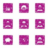 Executive Icons Set. Grunge Set Of 9 Executive Vector Icons For Web Isolated On White Background poster