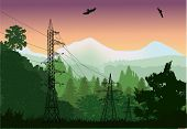 illustration with electric line in forest near mountains
