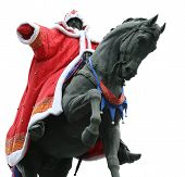 picture of yuri  - Monument of Yuri Dolgoruki clothed in costume of Santa Claus  - JPG
