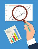 Searching Process Analytics Vector Illustration Isolated On Blue, Businessman Looking On Statistic D poster