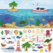 Nautical Navy Boats Marine Ocean Sea Animals Vector Water Plants Ocean Fish Cartoon Illustration Und poster