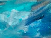 Abstract Oil Paint Texture On Canvas, Blue Paint Background. Colorful Painting Texture poster