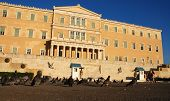 stock photo of evzon  - Athens Constitution square or Syntagma with the Parliament