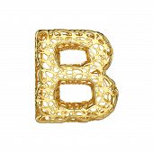 Alphabet Letter B Uppercase. Gold Font Made Of Yellow Cellular Framework. 3d Render Isolated On Whit poster