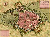 Antique Map Of Town And Citadel Of Valenciennes