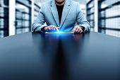Businessman Pressing Button. Innovation Technology Internet Business Concept. Space For Text. poster