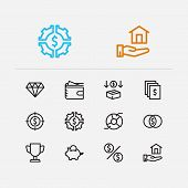 Economy Icons Set. Investment Target And Economy Icons With Investing Diversification, Investment Se poster
