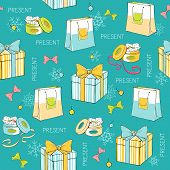 Christmas Seamless Pattern With Gift Boxes And Paper Bags
