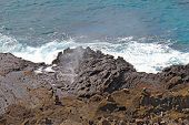 Spray From The Halona Blowhole In Hawaii
