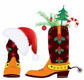 Cowboy Boots And Santa's Red Hat For Design