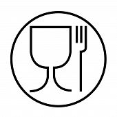 Food Safe Symbol. The International Icon For Food Safe Material Are A Wine Glass And A Fork Symbol.  poster