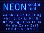 Bright Glowing Blue Neon Alphabet Letters And Numbers Font. Nightlife Entertainments City Light, Mod poster