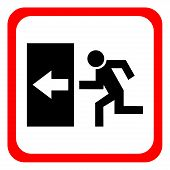 Safe Sign. The Exit Icon. Emergency Exit. Red Icon On A White Background. Vector Illustration. poster