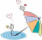 Birds In Love After Rain. Vector Illustration