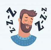 Vector Cartoon Illustration Of Profile Avatar Icon Of Sleepy Beard Man Face. Male Character With Sle poster