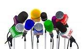 Microphones Of Different Mass Media, Radio, Tv And Press For Press Conference Or Interview. 3d Rende poster