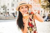 Young Beautiful Girl In Summer Dress, Straw Hat. Travels Around The European City In The Summer. A C poster