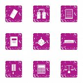 Scientific Input Icons Set. Grunge Set Of 9 Scientific Input Vector Icons For Web Isolated On White  poster