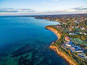 Beautiful Rugged Coastal Cliffs And Luxury Homes Near The Ocean - Mornington Peninsula Coastline Aer poster