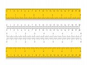 School Measuring Ruler With Centimeters And Inches. Size Indicators With Different Unit Distances. V poster