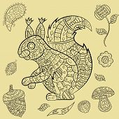 Vector Illustration Of Animal And Plant Ornament Rodent, Squirrel, And Plants, Acorn, Flowers, Leave poster