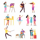 Cartoon Artists And Musicians Vector Isolated Characters In Creative Artistic Hobbies. People Hobby, poster