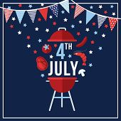 Happy Independence Day, 4th July National Holiday. Festive Greeting Card, Invitation With Bunting Fl poster