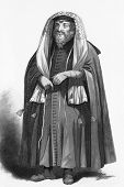 Jewish rabbi dressed for prayers. Engraved by R.Young and published in The Faiths of the World, A Di