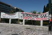 Greek Banners during Demonstrations - June/July/October 2011