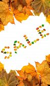 Autumn Maple-leafs Background With Word Sale Composed Of Multicolor Maple Leaves poster