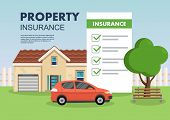 Red Car Near Real Estate Vector Illustration. Property Insurance Concept. Clipart. Flat Style. poster