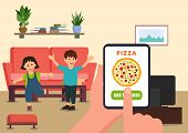 Parent Orders Pizza For Children Online. Online Pizza Order. Vector Illustration. Clipart. Flat Styl poster