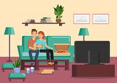 Cartoon Couple Eating Pizza And Drinking Cocktails While Watching Tv. Vector Illustration. Clipart.  poster