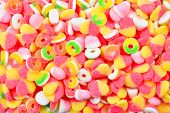 Assorted Colorful Juicy Gummy Candies. Top View. poster
