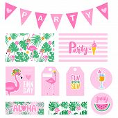 Vector Summer Party Collection With Tags, Cards, Garland, Badges. Bright Poster. Set Elements For Be poster