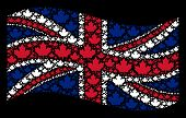 Waving Great Britain Flag On A Black Background. Vector Maple Leaf Icons Are Combined Into Geometric poster