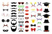 Photobooth Party Elements. Vector Funny Face Masks And Clown Nose And Glasses, Vintage Party Hats An poster