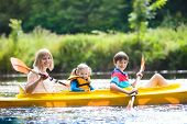 Child On Kayak. Kids On Canoe. Summer Camping. poster