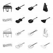 Musical Instrument Black, Outline Icons In Set Collection For Design. String And Wind Instrument Iso poster