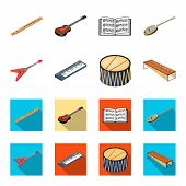Musical Instrument Cartoon, Flat Icons In Set Collection For Design. String And Wind Instrument Isom poster