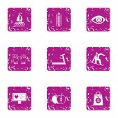Heartbeat Icons Set. Grunge Set Of 9 Heartbeat Vector Icons For Web Isolated On White Background poster