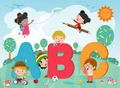 Cartoon Kids With Abc Letters, School Kids With Abc, Children With Abc Letters,vector Illustration poster